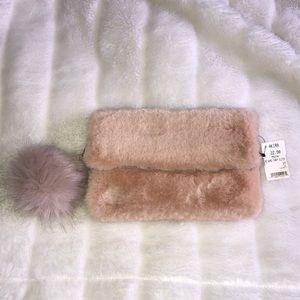 Blush Pink Fur Clutch